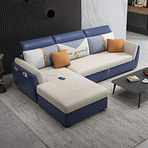 Sofas L- Shaped CORNER SOFA BED with STORAGE. Pull-Out Futon Couch Recliner,Multifunctional Folding Sofa Bed with Wooden Legs,Foam Filled Seats for Comfort for Living Room/Guest Room/Office,246CM
