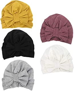 Newborn Baby Toddler Cotton Hat Baby Girl Knotted Hat Cute Donut Soft Turban Bow Cap Set