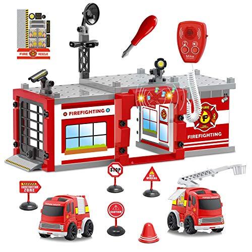 FUN LITTLE TOYS Fire Truck Fireman Toys,...