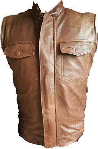 creazioniinpelle Chaqueta Chaleco marrón de Cuero auténtico 100% Muy Suave de Hombres Biker Moto Sons of Anarchy