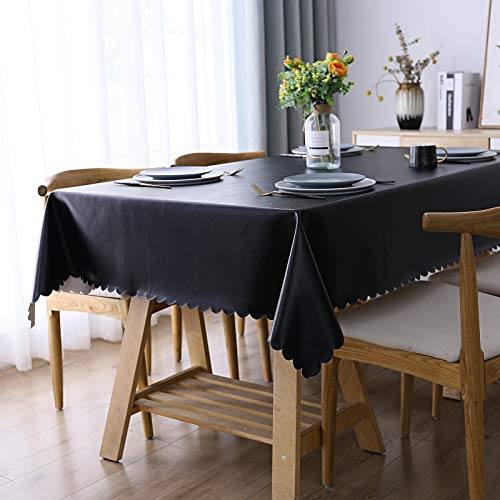 Smiry Heavy Duty Vinyl Tablecloth, Waterproof and Oil-Proof Solid Color Wipeable Table Cloth, Washable Table Cover for Indoor and Outdoor Use(60' X 84',Black)