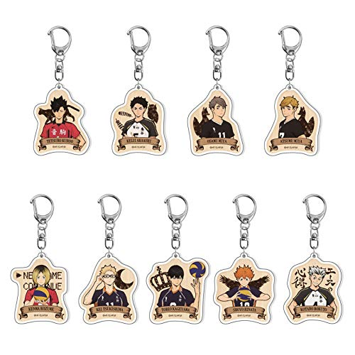 Salemor Haikyuu!! Keychain Double-Sided Clear Acrylic Key Ring Anime Figure Color Printed Pendant Clothing Bag Accessories( 9 Pcs)
