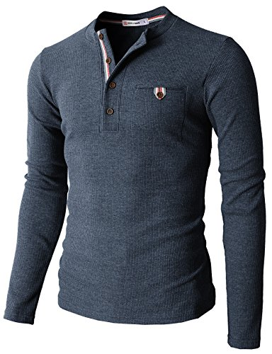 H2H Mens Casual Slim Fit Henley Shirts with Bound Pocket of Waffle Cotton HEATHERNAVY US L/Asia XL (KMTTL062)