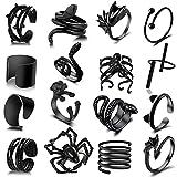 16 PCS Y2K Open Black Vintage Golden Punk Rings for Women Girls Mens Cat Snake Bat Devil Wing Dog Spider Rose Adjustable Retro Cool Ring Claw Skull Gothic Rings Jewelry