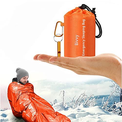 Survival Biwaksack,Notfall Überleben Schlafsack,Rettungszelt für Freien Camping und Wandern,Wasserdicht Notfalldecke,Kälteschutz Ultraleicht Rettungszelt,Erste Hilfe Rettungsdecken