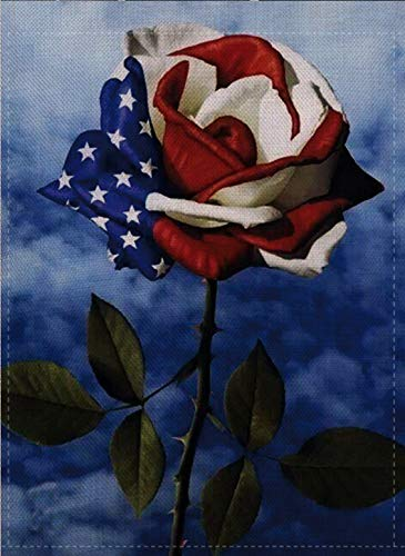 Dyrenson Home Decorative Love Small Patriotic Garden Flag July 4th Double Sided, Spring Summer Roses Burlap House Yard Decoration, Seasonal Outdoor D