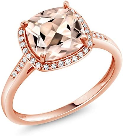 Gem Stone King 10K Rose Gold Ring Peach Morganite and Diamond Accent Women s engagement Ring product image
