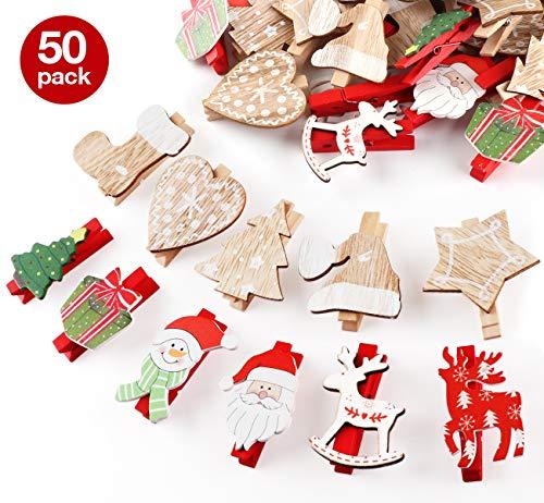 ABSOFINE Weihnachtsdeko Holzklammern für Fotos 50er Mini Klammern mit süßen Weihnachten Figuren Wäscheklammern Dekoklammern Holzwäscheklammern Zierklammern 48 * 7mm