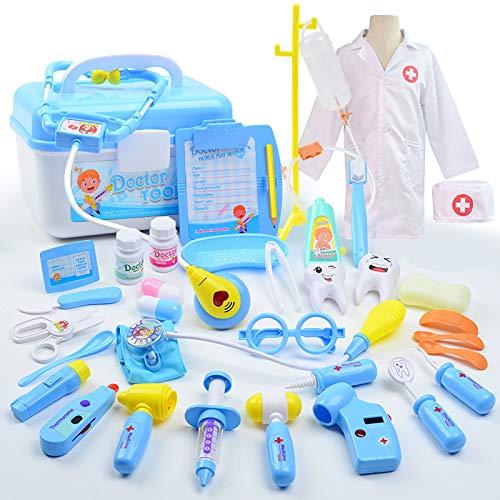 HYISHION 35 Piezas Maletin Medicos Doctora Juguete Enfermera Disfraz Juegos de Imitacion Regalos para Niñas Niños 3 4 5 6,Azul,35 pcs