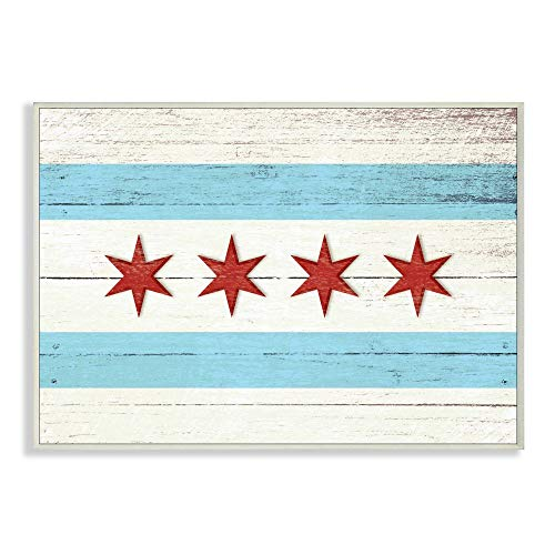 Stupell Industries Chicago Flag Distressed Wood Look Wall Plaque, 10 x 15, Design by Artist Daphne Polselli