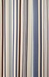 blue and cream vertical striped shower curtain