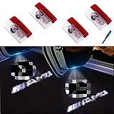 4 unidades de luz para puerta de coche con logo de bienvenida, proyector de logotipo HD con permiso de Shadow Spotlight con un pequeño destornillador gratis.