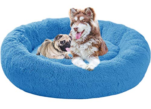 Xpnit Deluxe flauschig Hundebett Hundesofa Waschbar, Rundes Hundenest Kuscheliges Hundekörbchen Hundekorb Doughnut-Form für Mittlere Große und Extra Große Hunde (M-70cm,Blau)