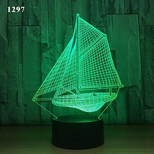 3D Illusion Lamp Led Night Light Sailing Boat Sailing Boat Underwater Design Acrylic Laser 7 Colors Kids Friends Gift Toys