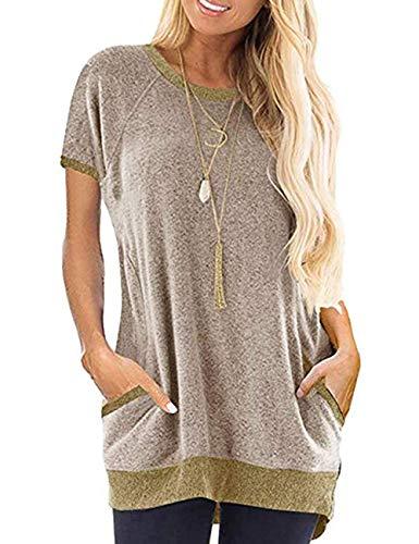 SEBOWEL Farbblock Shirt Damen Patchwork Oberteil Sommer Bluse Top (L, Khaki)