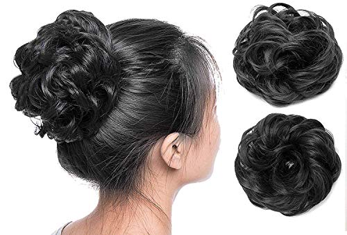 BEAUTRISTRO Set Of 2pcs Synthetic Hair Bun Extension And Wigs Artificial Juda For Women And Girls, 35 Gram, Natural Black