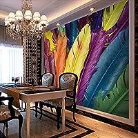 HGFHGD 3Dリビングルーム壁画モダンカラフルな羽テレビ背景壁紙家の装飾壁紙ウォールステッカーウォールアート
