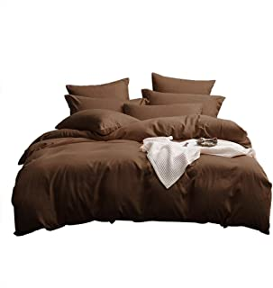 UMI Merryfeel Microfiber Duvet Cover Set,Lightweight and Soft Bedding Set (8 Sizes,12 Colours)(155x220+1x80x80cm,Chocolate)