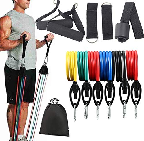 Resistance Bands Set, 6-Piece Exercise Bands with Door Anchor, Handles, Legs Ankle Straps, Stackable Up to 150 lbs, Home Workouts, Yoga, 12PCS