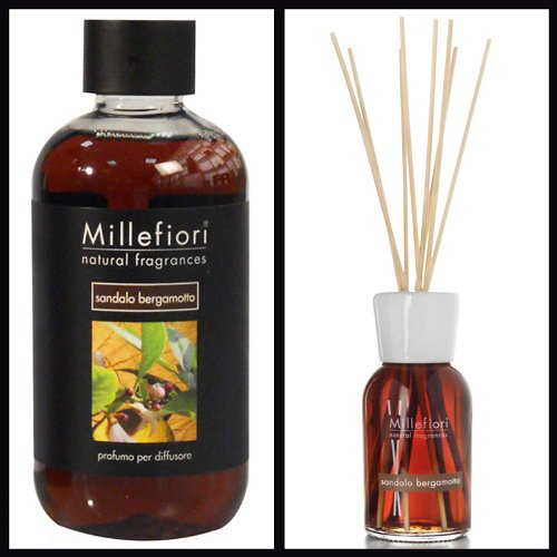 Millefiori Milano Ensemble économique bois de santal bergamote (diffuseur 100 ml et recharge 250 ml)