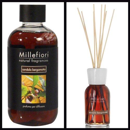 Millefiori Milano Set économique bois de santal bergamote (diffuseur 100 ml et recharge de 250 ml).