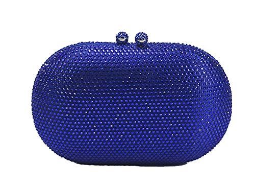 Chicastic Clutchbox mit Strasssteinen, oval, für Hochzeit, Abendveranstaltung, Blau (blau), Medium