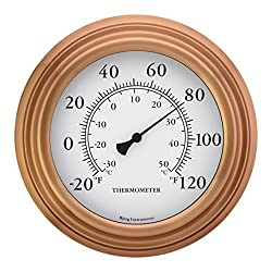 Bjerg Instruments 8 Copper Finish Decorative Indoor/Outdoor Patio Wall Thermometer