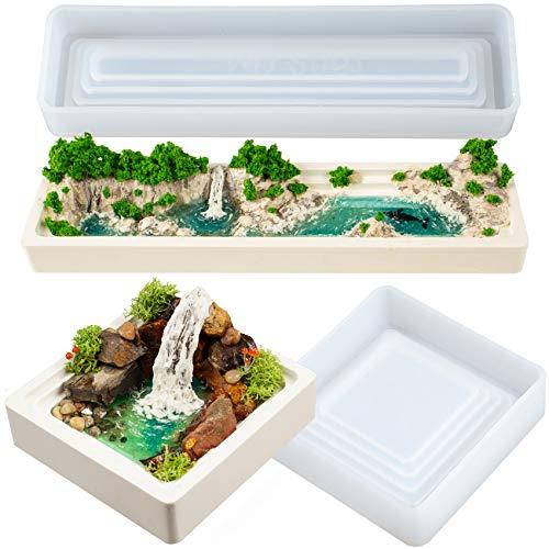 Musykrafties Terrassen-Blumentopf-Silikonformen, quadratisch, rechteckig, für Epoxidharz, Beton, Zement, Polymerton, Diorama Miniatur-Feengarten