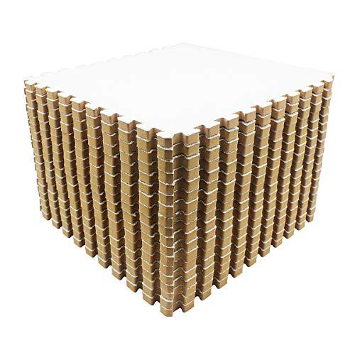 Amazon Brand - Umi -Alfombras de espuma entrelazadas de 30 X 30 cm (Blanco 9 Piezas)