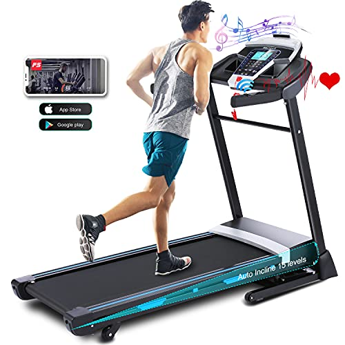 ANCHEER Treadmill, 3.25HP APP Treadmills for Home with 0-15 Automatic Incline, 300LBS Capacity...