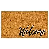 mDesign Pratico zerbino antisporco – Tappetino ingresso decorativo in fibra di cocco con scritta'Welcome' – Puliscipiedi da esterno e da interno – marrone e nero