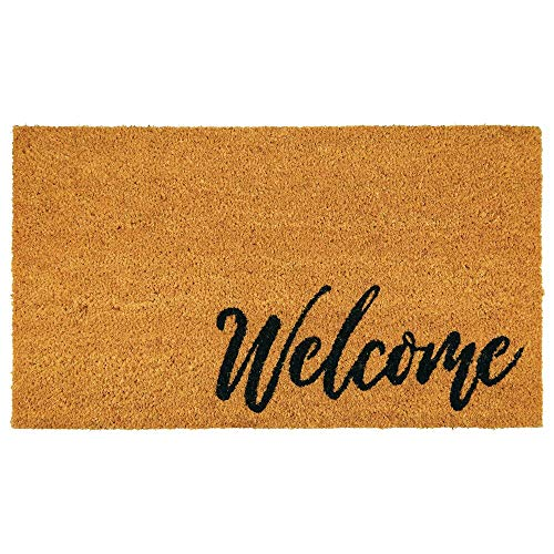 mDesign Rectangular Coir and Rubber Entryway Welcome Doormat with Natural Fibers for Indoor or Outdoor Use - Decorative Script Welcome Design - Natural/Black Letters