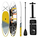 Klarfit Tabla Paddle Surf Hinchable - Kauai Flow & DOWNWIND Cruiser 300x10x77cm Sup Surf, Paddleboard, Bomba de Aire, Pala, Correa de Seguridad, Mochila de Transporte, Kit reparación, Amarillo
