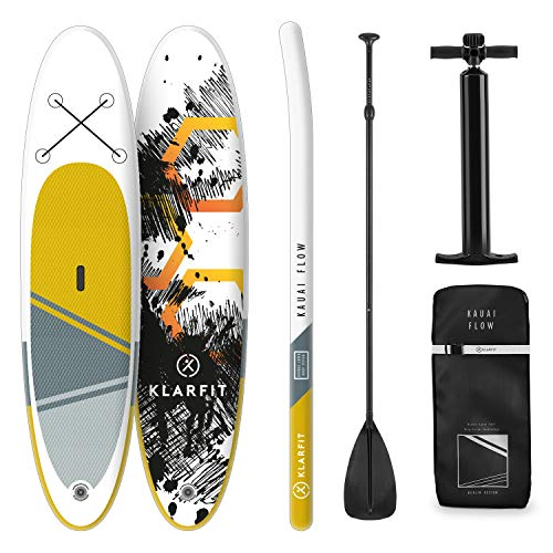 KLAR FIT Stand Up Paddle Board Surf - Kauai Flow e Downwind Cruiser 305x10x77cm, all-Round SUP Gonfiabile, Set Completo: Pagaia + Pompa + Sacca Trasporto + Kit di Riparazione, Giallo-Grigio