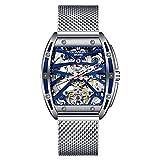 GUANQIN 2020 nuevos hombres automático luminoso reloj de pulsera esqueleto Tourbillon impermeable reloj mecánico, Azul plateado., Pulsera