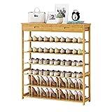Dsrgwe Zapateros, 6 Niveles de bambú apilable Extensible con 2 cajones Stand Stand Storage Organizer para 24-36 Pares de Zapatos (Size : 90 * 25 * 104CM)