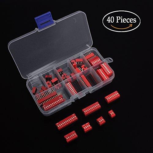 Zweireihiger Dip-Schalter Packung à 40pcs Rutschtyp Roter Kippschalter für Stromkreis, Breadboards und Arduino