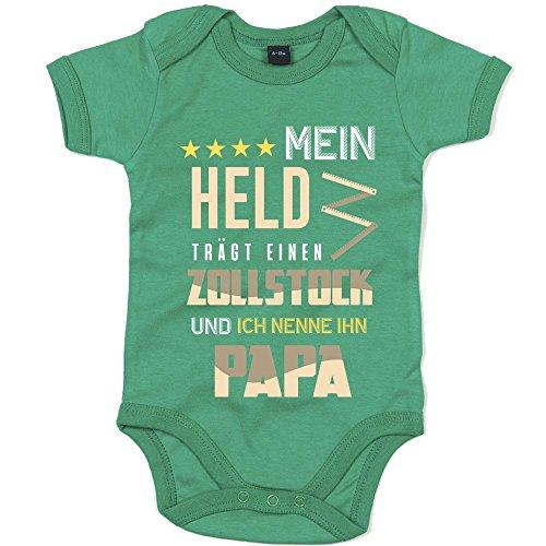 Zollstock Premium Babybody Berufe Follow Your Dreams Traumberuf Mädchen Kurzarmbody, Farbe:Grün (Kelly Green BZ10);Größe:12-18 Monate