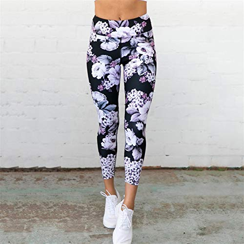 WZXY Yoga Pants Women Fitness Yoga Sport Leggings Floral Printed Ankle-Length Trousers Gym Workout Running Leggins Clothes