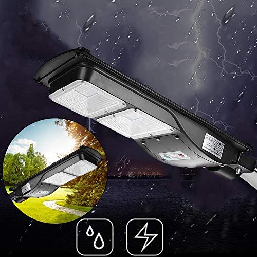 GOTOTP Farola Solar de 120 LED de Seguridad con Control Remoto Impermeable IP65 5500K Focos LED Exterior Solar de Pared con Sensor Crepuscular 60W