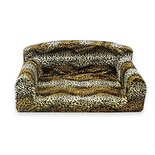 Animal Brown Leopard Pet Sofa. 3 sizes Dog bed cover material. Made in UK (Medium 96cm x 46cm x 34cm)