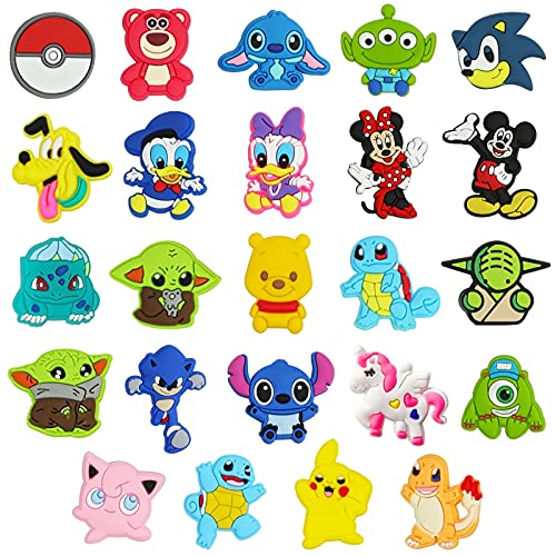 24 PCS Anime Characters Shoe Charms for Croc Wristband  Cartoon Shoe Charms for Clog Sandals Decoration for Kids Boys Girls Teens Party Favors Birthday Gifts