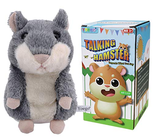 Yoego Talking Hamster Repeats What You Say Interactive Stuffed Plush Animal Talking Toy,Perfect Toy Gifts for Boys Girls Age 3+ (Gray)
