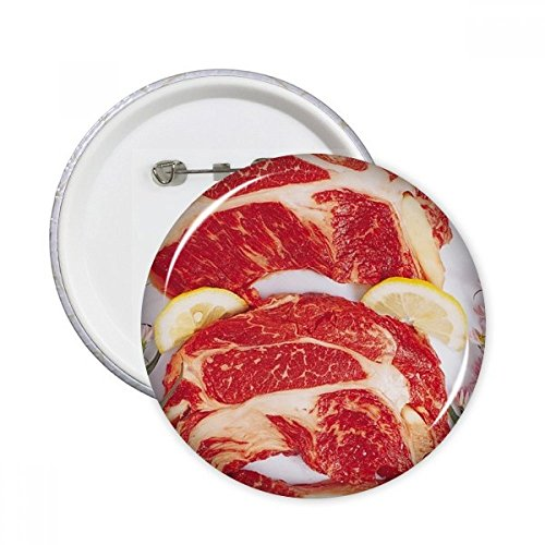 beef eye of round steaks Steak Raw Meat Food Texture Round Pins Badge Button Clothing Decoration 5pcs Gift