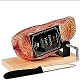 Jamon Deshuesado Serrano Mini 1kg aprox. - Curado y envasado al vacio + Jamonero y Cuchillo de Corte – Ideal para Picar y para Tapas