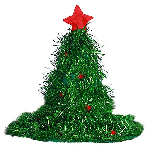 SMONKAN 2PC Christmas Tree Hat - Personalized Christmas Party Essential Plush Funny Christmas Tree Hat for Christmas Party Perfect Decoration Props Headgear (Green)
