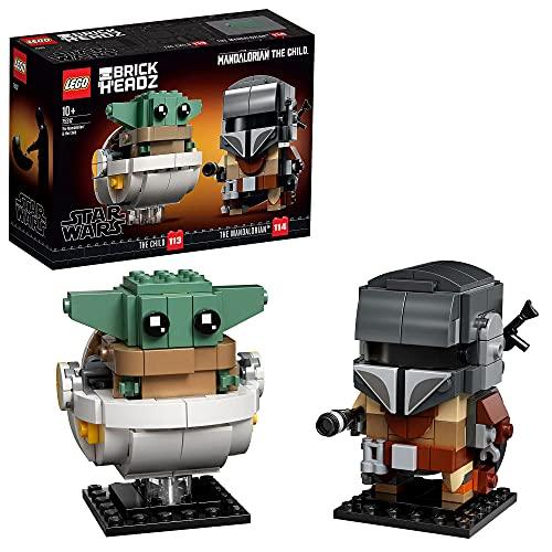 LEGO 75317 Star Wars Brick Headz El Mandaloriano y el Niño, Juguete de...