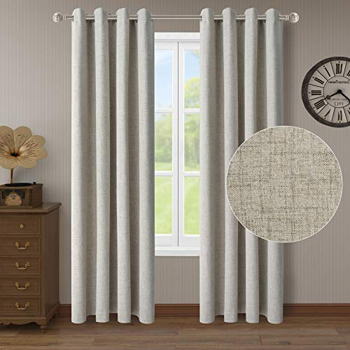 LORDTEX 100% Blackout Curtains for Bedroom Linen Textured Burlap Room Darkening Curtains Thermal Insulated Window Treatment Drapes Light Blocking for Kitchen Room (2 Panels, 52 x 95 inches, Cream)