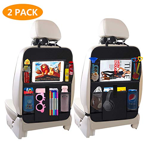 Car Backseat Organizer,Kick Mats Car Seat Back Protectors with 5 Storage Pockets+10' Touch Screen Tablet Holder for Baby Toys Book Bottle Drinks Kids Travel Accessories2 Pack