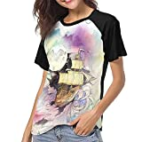 Toadies Women's Baseball Short Sleeves T Shirt Blouse Casual Round Neck Top Summer Camisetas y Tops(X-Large)